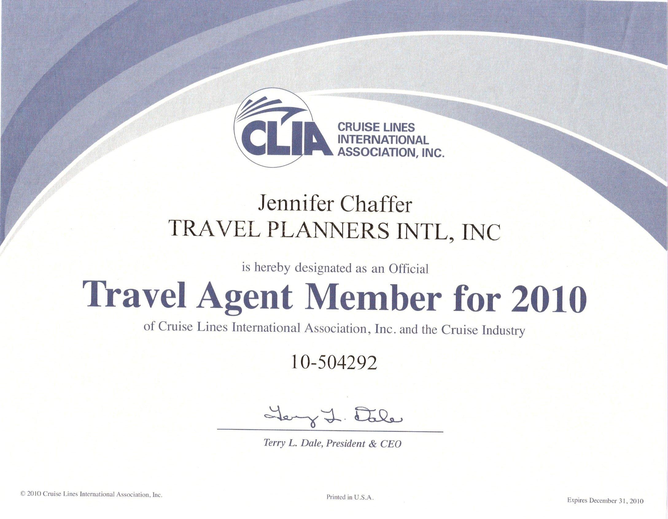 journeys travel clia certificate certifications